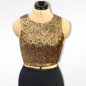 Sequin sleeveless crop top